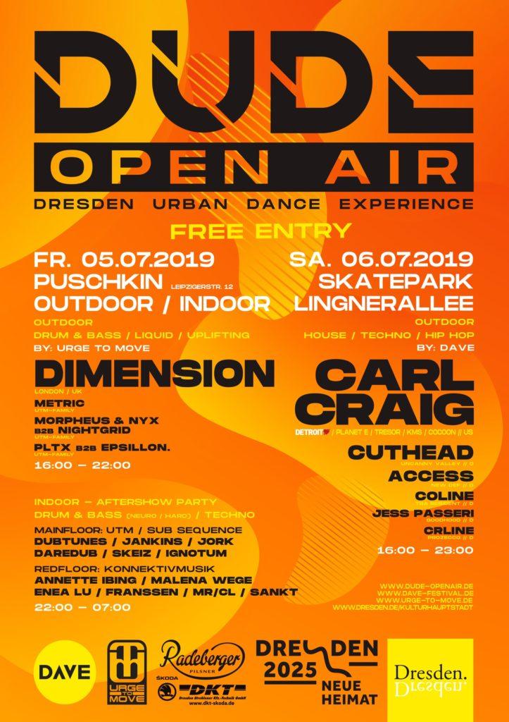 DUDE Open-Air 2019. 5. und 6. Juli in Dresden mit Carl Craig , Dimension und vielen anderen. Free Entry