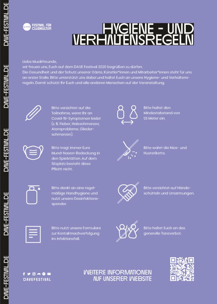 Hygiene und Verhaltensregeln zum Infektionssschutz auf dem DAVE Festival 2020.